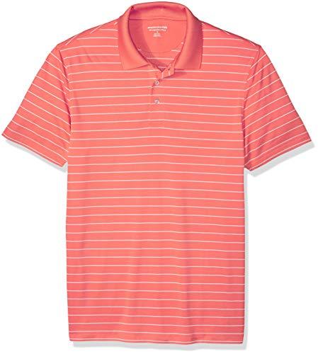 Amazon Essentials Men's Slim-Fit Quick-Dry Golf Polo Shirt, Coral Stripe, Medium