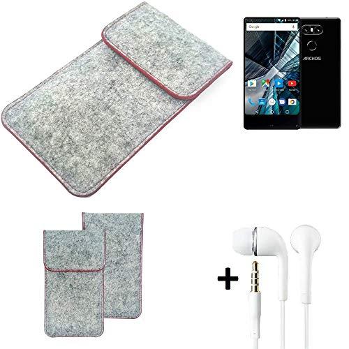 K-S-Trade® Handy Schutz Hülle Für Archos Sense 55 S Schutzhülle Handyhülle Filztasche Pouch Tasche Hülle Sleeve Filzhülle Hellgrau Roter Rand + Kopfhörer