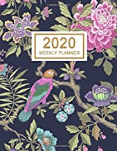 2020 Weekly Planner: January 2020 to December 2020 Weekly and Monthly Planner with One Year Daily Agenda Calendar, 12 Month Birds & Flowers Navy ... Quotes, Holidays, Notes & Vision Board