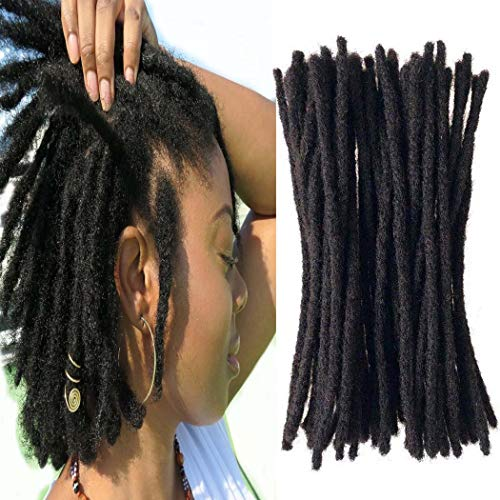 Yotchoi 100% Human Hair Dreadlocks Extension Handmade Locs Small Size(diameter 0.4cm) 8inch 40 Strands/pack Natural Black #1B