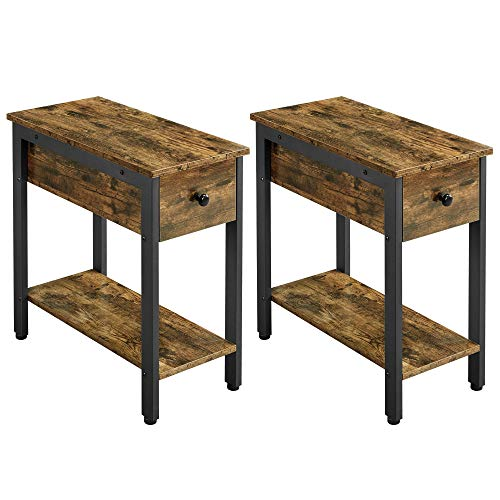 YAHEETECH 2 pcs Narrow 2-Tier Side Sofa Tables End Table Multipurpose Storage Cabinet with Drawer Open Shelf Nightstands, Rustic Brown