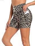 MOVE BEYOND Pantalones Cortos Deportivo para Mujer con 2 Bolsillos Laterales de Cintura Alta Shorts Leggings para Yoga Correr Ejercicio Fitness, 13cm Entrepierna, Leopardo, XL