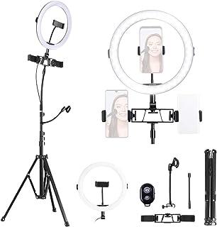 K&F Concept Aro de Luz, Aro Luz Tripode Alto, Anillo de Luz LED Regulable con Trípode, 2700K a 5500K Temperatura de 3 Modo...