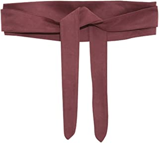Ababalaya Women's Retro Sweet Ultra Wide Suede Bow Belt Girdle for Coat Dress