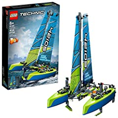 Take to the water with this racing Catamaran floating toy sailboat, packed with realistic features, like moving sails, dagger boards and rudder! Ideal for developing engineering skills, this 2-in-1 LEGO Technic model catamaran kit lets kids build, pl...