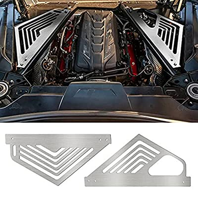 BILLFARO Pair Silver Engine Covers Protector Grill Aluminium Oxidation Engine Bay Panel Cover Left Right Auto Interior Body Part Replacement Accessories for Corvette C8 2020-2022