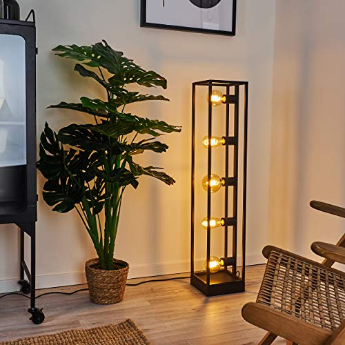 Floor lamp Wick in Black Metal, Minimalist Retro Light Fitting in a Vintage Living Room, with Switch on The Cable, for 5 x E27 Bulbs max. 40 Watt, LED Bulb Compatible