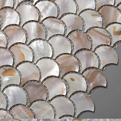 Soulscrafts Colorful Mother of Pearl Fish Scale Mosaic Tile Sheets Backsplash Tile for Kitchen Pack of 10