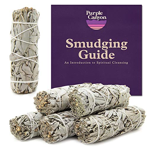 PURPLE CANYON White Sage Bundles - Sage Smudge Stick for Home Cleansing Incense Healing Meditation and California Smudge Sticks Rituals (4 Inch) (6 Pack)