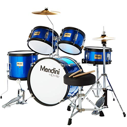 Mendini By Cecilio Drum Set For Kids/Junior - 16-Inch, 5-Piece, Blue Metallic - Starter Drums Kit w/Adjustable Throne, Cymbal, Pedal & Drumsticks -...