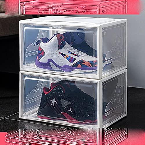 2pcs Zapatillas Caja De Zapatillas De Deporte Caja De Zapatos De Plástico Deslizable Caja De Almacenamiento De Gabinete De Exhibición Desmontable A Prueba De Polvo Rack Organizer-Blanco