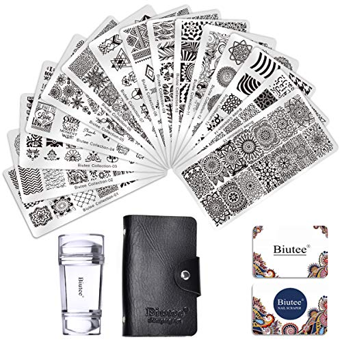 Biutee Nail Art Stamping Plate, Stamping Plaques pour nail art, Pochoir à ongles (1 Tampon 15 types de Motifs 2 Racle 1 Sac)