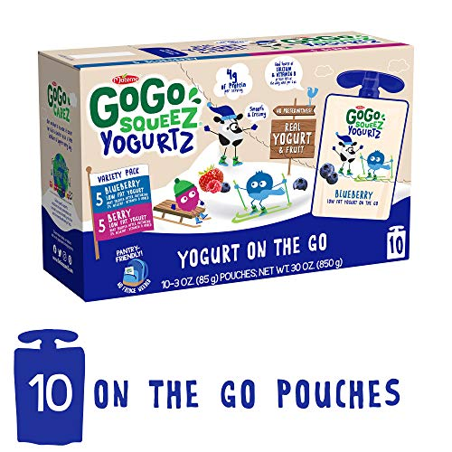 GoGo squeeZ YogurtZ, Variety Pack (Blueberry/Berry), 3 Ounce (10 Pouches), Low Fat Yogurt Gluten Free, Healthy Snacks, Recloseable, BPA Free Pouches