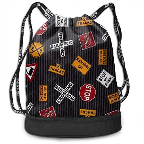 Ovilsm Cord Bag Sackpack Traffic Sign Drawstring Bag Rucksack Shoulder Bags Travel Sport Gym Bag Print - Yoga Runner Daypack Shoe Bags with Zipper and Pockets