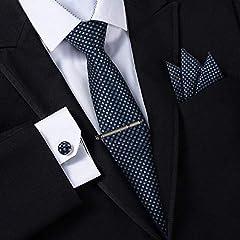 Idea Regalo - Jorlyen Uomo Designer Cravatta - Box Set con fazzoletto, Gemelli e Fermacravatta X cucita a mano in microfibra in colori assortiti - confezione regalo (Plaid Blu Navy)