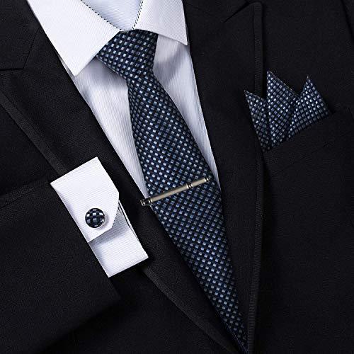 Jorlyen Uomo Designer Cravatta - Box Set con fazzoletto, Gemelli e Fermacravatta X cucita a mano in microfibra in colori assortiti - confezione regalo (Plaid Blu Navy)