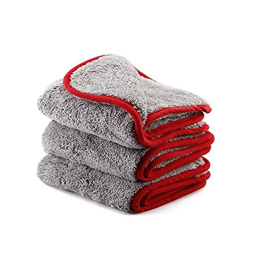 SPTA toalla de limpieza de microfibra, 3 Piezas 1200GSM microfibra coche limpieza paños coche secado toalla coche lavado limpieza auto detallando cocina limpieza paños cera -40x40cm -SPMF120MIX