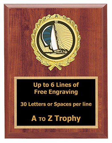 Trophies Sailing Race Plaque Awards 7x9 Wood Sailboat Water Sports Racing Trophy Free Engraving