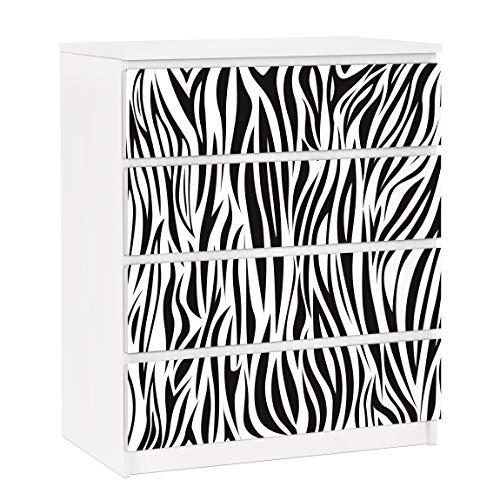 Apalis Vinilo Adhesivo para Muebles IKEA - Malm Dresser 4xDrawers - Zebra Pattern, Größe:4 Mal 20cm x 80cm