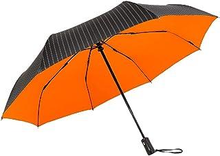 LIUXIN Fully Automatic Folding Umbrella Explosion-Proof Double-Layer Umbrella Stripe Reinforced Windproof 3 Colors Optional Umbrella (Color : Orange)