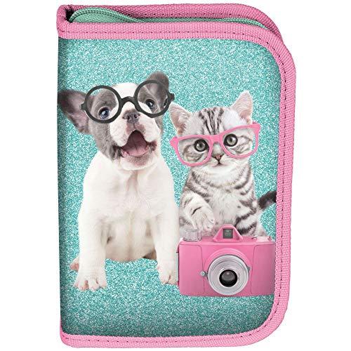 Kinder FEDERTASCHE 22-TEILIG - Studio Pets - Hund & Katze MIT Brille - GRÜN/PINK