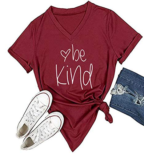 DANVOUY Womens T Shirt Casual Cotton Short Sleeve V-Neck Graphic T-Shirt Tops Tees Wine Red X-Large
