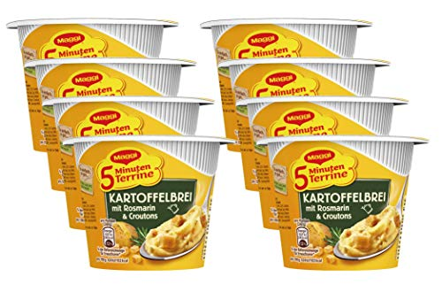 MAGGI 5 Minuten Terrine Kartoffelbrei: Rosmarin & Croutons, leckeres Fertiggericht, Instant Kartoffel-Püree, herzhafter Kartoffel-Snack, 8er Pack (8 x 53 g)