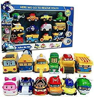 12 Pack Poli Robocar Pull Back Toy Robot Cars Korea Cartoon Special Die Cast Set Christmas Children's Day Gift Boys Girls Toy