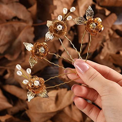 Fashband Horquillas para el pelo con diseño de hojas doradas, para novia, para mujeres y niñas (paquete de 4)