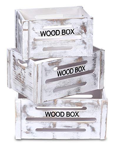 ts-ideen 3er Set Kisten Truhe Stapel Box Holztruhen Spielzeug Obst Holz-Kiste Shabby Weiß