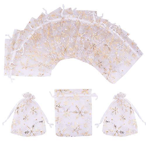 PandaHall Elite - Packung mit 100 Stück Geschenktüten Organza Geschenktüten Bedruckt mit Schneeflocke Gold für Lavendel Hochzeitsgeschenk Party Weihnachten, Rechteck, Weiß, ca. 12x10cm