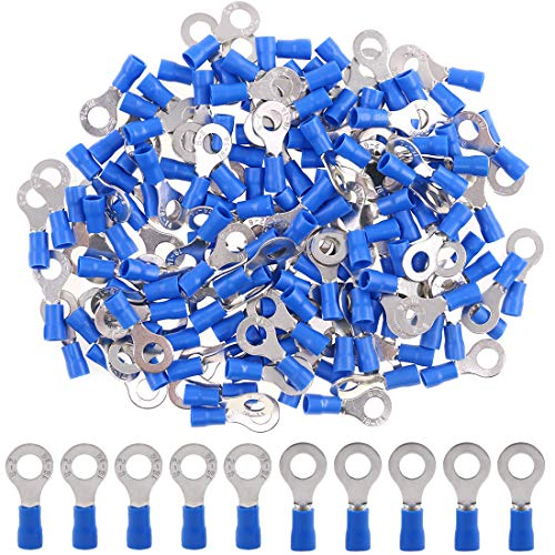 Hilitchi 100Pcs 16-14AWG Insulated Terminals Ring Electrical Wire Crimp Connectors (Blue, M6)