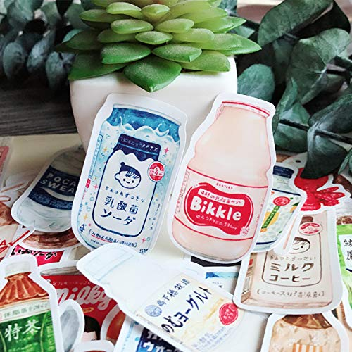 LZWNB Tn Mano Cuenta Decoración Material Pintado a Mano Japonés Snack Drink Pegatinas Cuaderno Diario Alimentos Pegatinas 28 Piezas