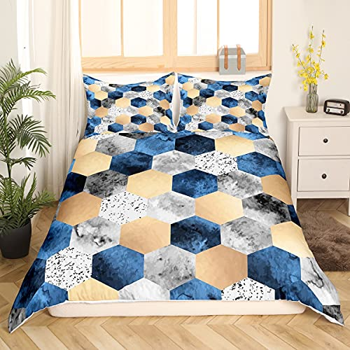 Juego de cama de nido de abeja con geometría hexagonal, funda de edredón para niños y adolescentes, color blanco y negro