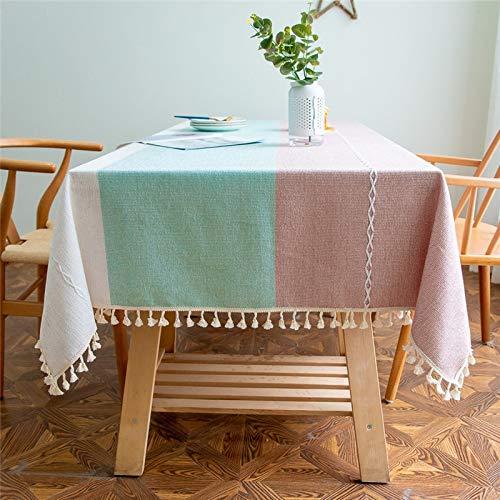 XXDD Mantel de algodón a Rayas Funda de sofá Borla Mantel de Cocina de Color sólido Mantel Impermeable y a Prueba de Polvo A1 140x140cm