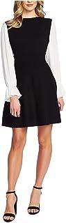 CECE Womens Black Pleated Color Block Bell Sleeve Crew Neck Short Dress AU Size:10