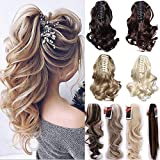 Long Short Claw Ponytail Hair Extensions One Piece Cute Clip in on Ponytail Jaw/Claw Synthetic Straight Curly for Women 24' Curly Dark brown & ash blonde