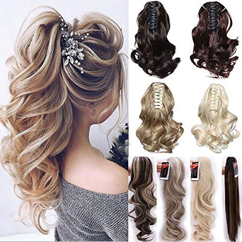Long Short Claw Ponytail Hair Extensions One Piece Cute Clip in on Ponytail Jaw Claw Synthetic Straight Curly for Women 12  Curly Ash Blonde