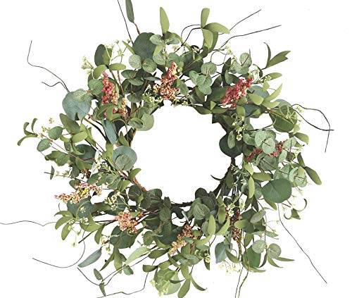 "Xmas Arts& Crafts 20"" Artificial Eucalyptus Wreath for Festival Celebration Front Door Wreath Wall Window Party Decoration"