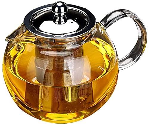 Obor - Teiera in vetro con infusore, per fiori e foglie sfuse, in borosilicato, bollitore da tè 950 ml.