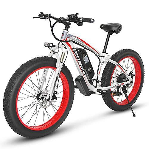 Bicicletas Eléctricas para Adultos, con Batería Extraíble de 36V/13Ah, Neumáticos 4.0'Híbrido de 21 velocidades, para Ciclismo al Aire Libre, Viajes, ejerciciowhite Red