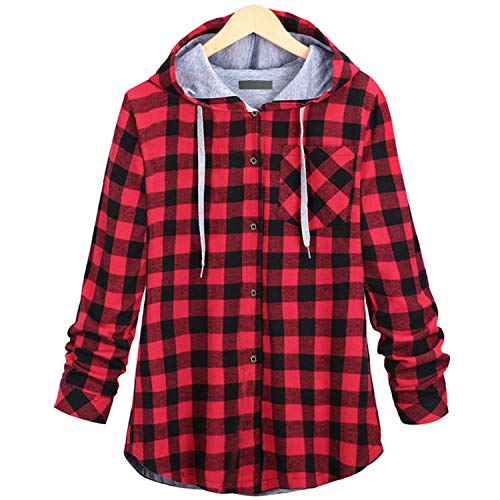 ylovego sweater Cotton Hoodies Women Coat Long Sleeve Plaid Women Sweatshirts Casual Hooded Female Sweatshirts Plus Size Red 4XL