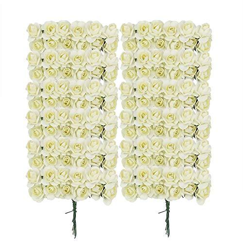 Ogquaton 144 stücke Künstliche Blume Exquisite Maulbeerpapier Rosen Mini Papier Rosetten für Hochzeitseinladung Scrapbooking DIY Handwerk Embelishment Elfenbein Kreative und Nützliche