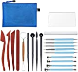 20 Pieces Modeling Clay Sculpting Tools Set Polymer Clay Tools Include Carving Modeling Tools, Pottery Tools,Ball Stylus Dotting Tools with a Zip Pouch for Pottery Sculpture