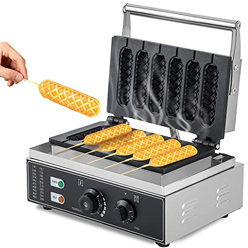 Commercial Corn Dog Waffle Maker Machine 6 PCS Professional Hot Dog Waffle Stick Press Iron 1550W Stainless Steel Hotdog Cooker with Non-stick Coating 5-min Timer 0-300℃ Temp Control 110V