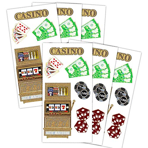 Casino Stickers Casino Night Stickers Party Favors Pack -- 6 Sheets Deluxe Dimensional (Vegas Party Supplies)
