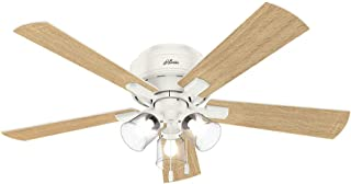 Hunter Indoor Low Profile Ceiling Fan, with pull chain control - Crestfield 52 inch, White, 54207