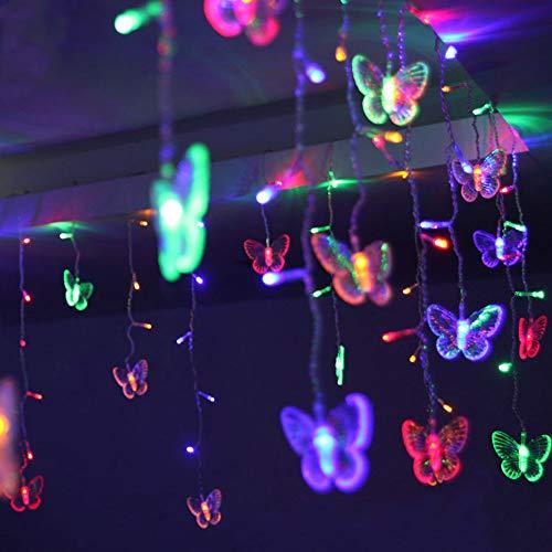 LED USB Schmetterling Lichtervorhang 1.5m x 0.5m, 48 LEDs Lichterkette Strombetrieben mit EU-Stecker für Innen Außen Party Hochzeit Deko, Warmweiß [Energieklasse A++ ] (Mehrfarbig)