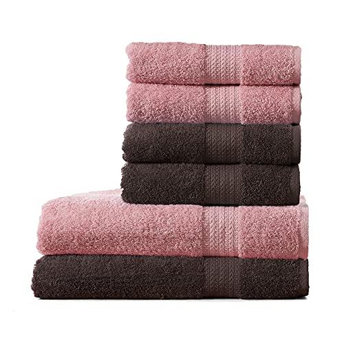 PHRYGİANİ Casa – Juego de baño de 6 piezas, 4 x (50 x 90 cm), 2 x (70 x 140 cm), 100% algodón...