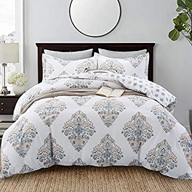 Villa Feel Duvet Cover Queen Size Hotel Collections Super Soft Egyptian Cotton 3 Piece Modern Bedding Medallion Damask Duvet Cover Set-1000-Thread-Count Bedding Set 1 Duvet Cover and 2 Pillow Shams